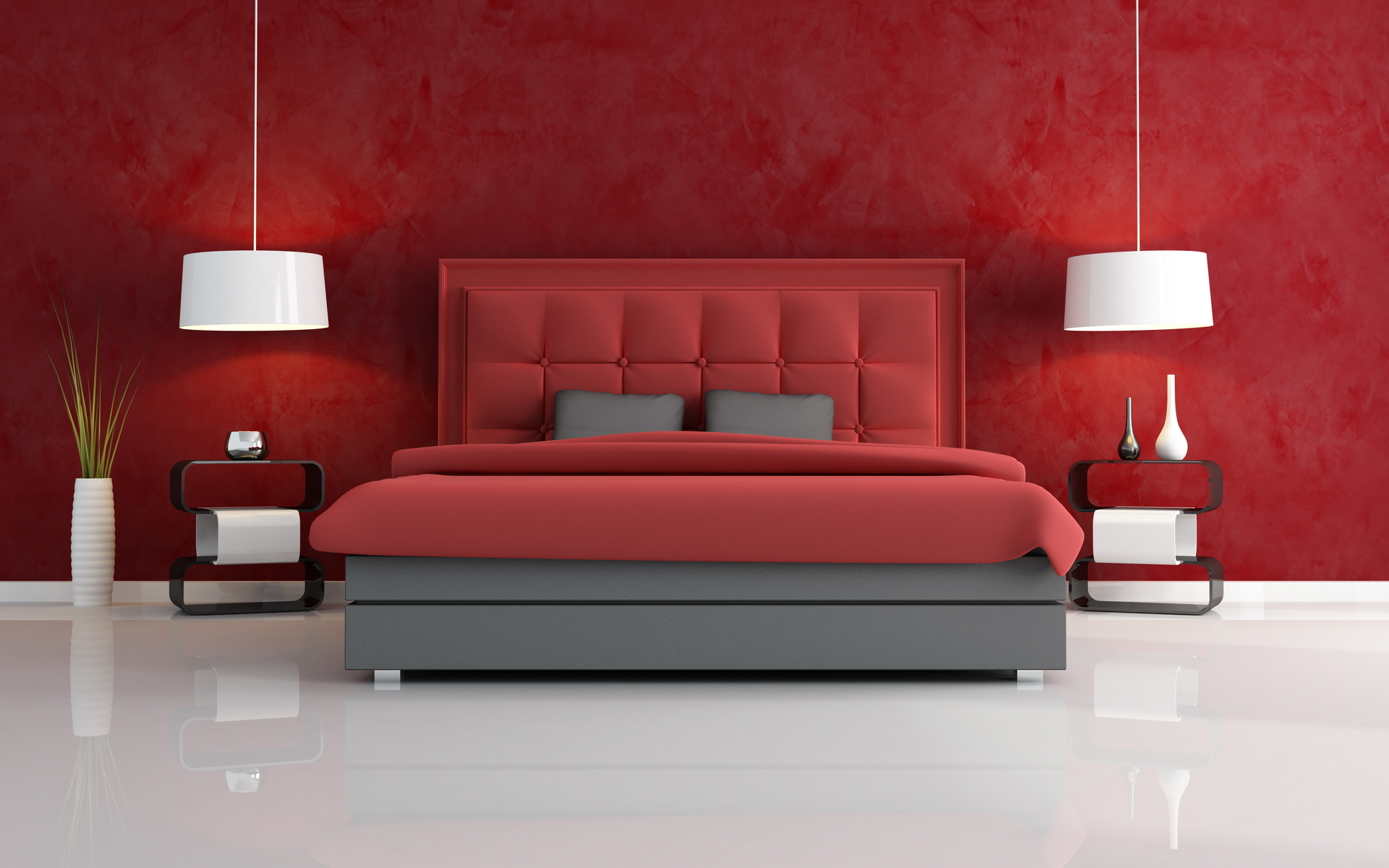 luxury red bedroom with headrest of the bed quilted - rendering